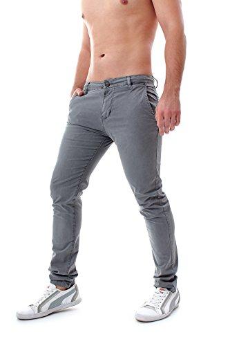 Pantaloni uomo elegante slim fit chino classici cotone tasca america diversi colori y6601 (31/45 (44 e mezza it), grigio)