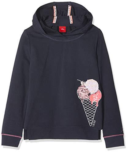 s.Oliver Mädchen Sweatshirt 53.901.41.4136 Blau (Dark Blue 5834) 104 (Herstellergröße: 104/110/REG)
