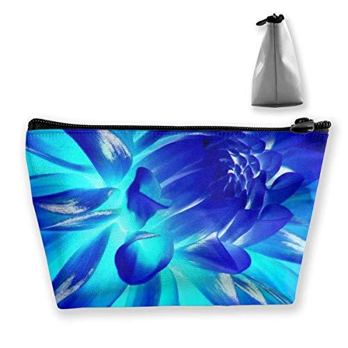 Womens Cosmetic Bag Coole blaue Blumen Neon Multifunktions-Make-up tragbare Tasche Handtasche erhalten Tasche, Trapez