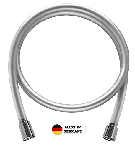 High-quality shower hose from SHP, made in Germany, with standard universal connector and anti-bacterial surface.Shower hose in polished silver with anti-twist protection.