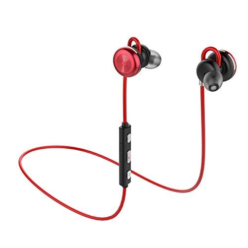 Bluetooth Kopfhörer, EWANTIC X9 - Bluetooth 4.1 Kabellos in-Ear Stereo Magnetische Sport Headset, APTX High Resolution HD Sound mit Lärmschutz und Mikrofon, IPX5 Wasserfest(Rot)