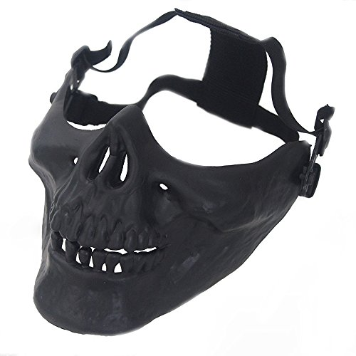 Little Sporter Maske Schaedel Skelett Halbe Gesichtsmaske Schädel Gesicht Schlauch Maske Motorrad Gesichtsmaske Gesichts Schutz Skeleton Schädel Maske Schwarz