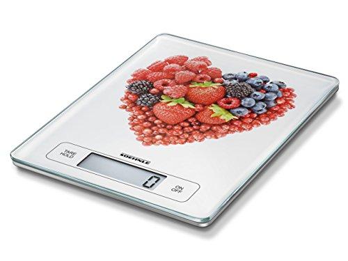 Soehnle Page Profi Fruit Hearts, digitale Küchenwaage für max. 15 kg mit Zuwiegefunktion, praktische Haushaltswaage mit Sensor-Touch, elektronische Waage inkl. Batterien, extragroße Wiegefläche
