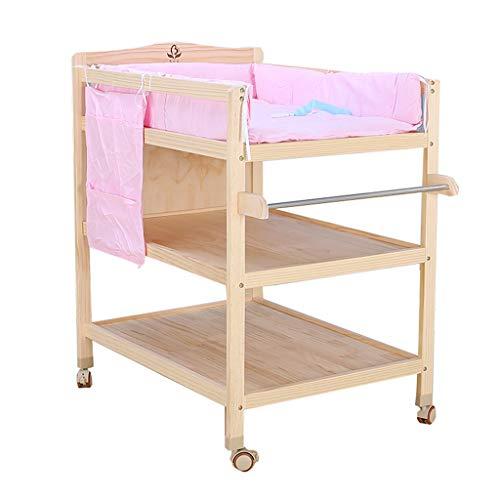 Preisvergleich Produktbild Wickelaufsatz- Holz Wickeltisch, Kommode auf Rädern mit Pad Kindergarten Baby Storage Badewanne Unit Station