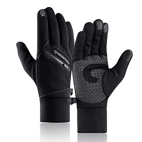 Extsud guanti invernali touch screen unisex guanti caldi spessi da inverno antipioggia antivento antiscivolo guanti termici sportivi per moto bici alpinismo sci attività all'aperto (l, nero)