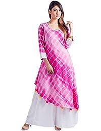 Asymmetrical Fuchsia Tie And Dye Indo Western Dress