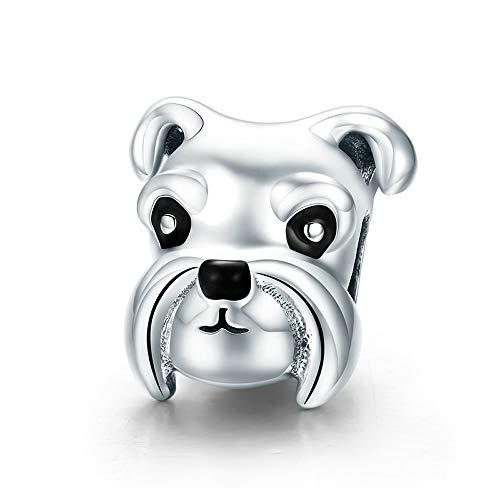 Schnauzer Charm-Anhänger aus 100% 925er Sterlingsilber, mit Tierschnauzer-Motiv, passend für Damen-Charm-Armbänder und Halsketten, DIY Schmuck