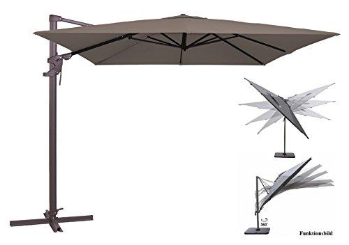 Madison Ampelschirm Monaco Flex 300x300 cm in taupe greige inklusive Ständer, sowohl axial als auch am Mast verstellbar, UV-Schutz 50 Plus