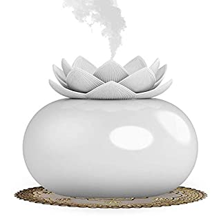 Aromatherapy Essential Oil Diffuser, 200 ml Lotus Flower Diffuser Ceramic Lotus Aroma Luftbefeuchter for Office, USB Auto Shut-off Home Air Refreshing - White