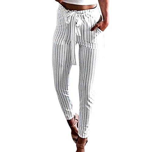 UFACE Damen gestreifte hohe Taille Hose Hosen Frauen Bowtie elastische Taille beiläufige Hosen (S/(38), Weiß)