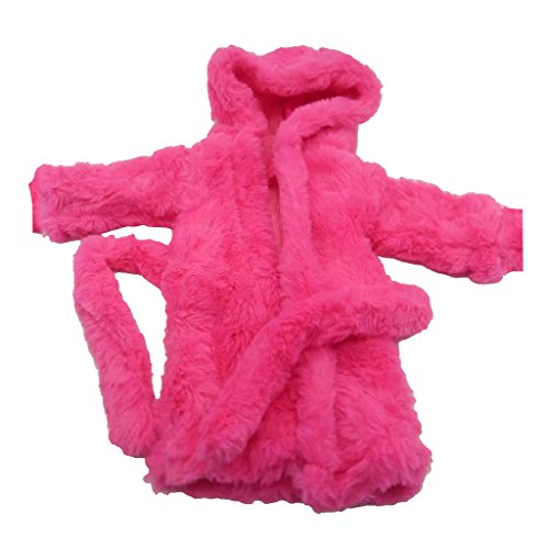 Homyl Puppen Bademantel mit Kapuze, Pyjamas Saunamantel Nachthemd aus Flanell Kleidung Für 18'' Amerikanische Mädchen Puppe - Rosa