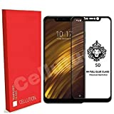 #9: CELLUTION™ Full Glue 100% Coverage 5D Tempered Glass, Full Edge-to-Edge Screen Protector for Xiaomi Poco F1 - Black