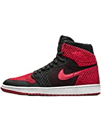 best website ab605 e4020 DANTOP Air Jordan 1 Retro Flyknit Bred Black Red Basketballschuhe Herren
