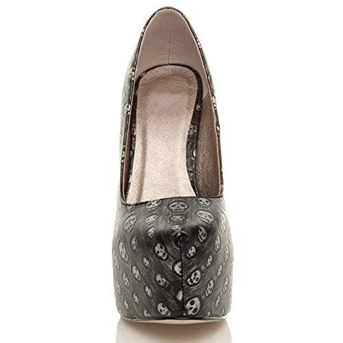 Scarpe décolleté donna con plateau nascosto e tacco alto per party numero Teschio argento