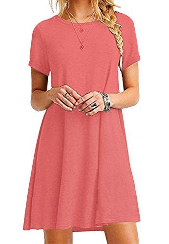 OMZIN Damen Mädchen T-Shirt Kleid Kurzarm Casual Kleid Locker Langes Shirt,Koralle,XXS (T-shirt Kleid Mädchen)