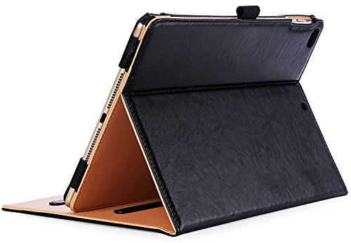 ProCase iPad 9.7 Hülle 2018/2017 iPad Hülle - Weinlese-Folio-Standplatz-Abdeckungs-Fall für Apple iPad 9.7 Zoll, Passt auch iPad Air 2 / iPad Air -Schwarz (Robuste Air Ipad 2 Fall)