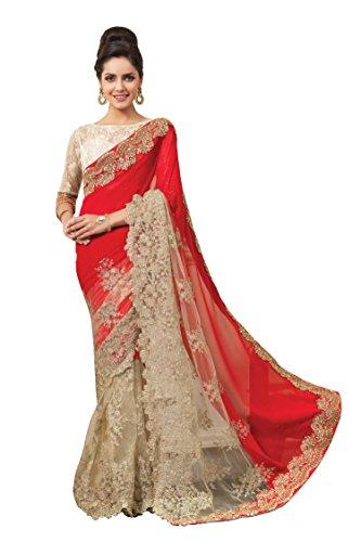 Chirag Sarees Synthetic Saree (2446-B_Red)