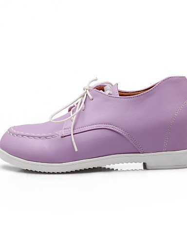 ZQ Scarpe Donna - Stringate - Ufficio e lavoro / Formale - Punta arrotondata - Zeppa - Finta pelle - Nero / Rosa / Viola / Bianco , purple-us10.5 / eu42 / uk8.5 / cn43 , purple-us10.5 / eu42 / uk8.5 / white-us7.5 / eu38 / uk5.5 / cn38