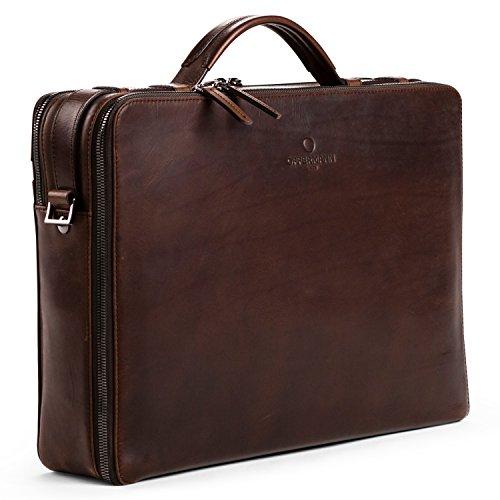 OFFERMANN Ledertasche Businesstasche Workbag L als Aktentasche und Umhängetasche schwarz L - Chestnut Brown