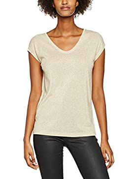 Only Onlsilvery S/S V Neck Lurex Top Box Jrs, Camiseta para Mujer
