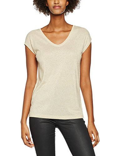 ONLY Onlsilvery S/S V Neck Lurex Top Box Jrs, T-Shirt Donna, Oro (Gold Colour), 36 (Taglia Produttore: Small)