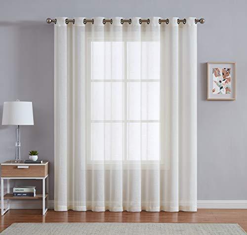 Best Sheer Tülle Gardinen Einsätze für Schlafzimmer, Wohnzimmer, Küche, Kinderzimmer und im Freien Durable polyester-2Stück, Polyester-Mischgewebe, elfenbeinfarben, 54x63 inch - Loft Vorhang