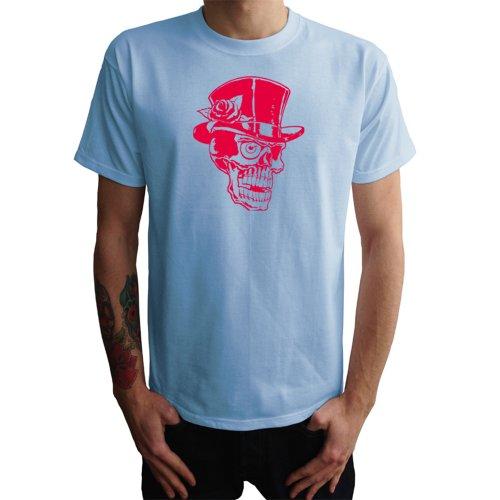 Skull mit Zylinder und Rose Herren T-Shirt Blau