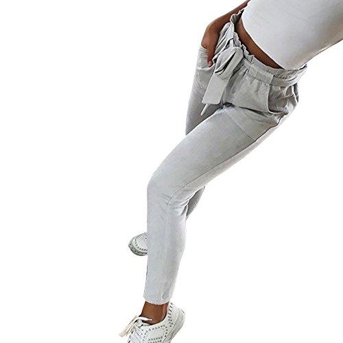 Trada_Tinta Unita Pantaloni Eleganti a Vita Alta/Gamba Larga Pantaloni/Pantaloni Casual a Vita Alta con Elastico in Vita da Donna con Fiocco Bowtie da Donna (S, Grigio)