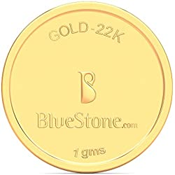 BlueStone BIS Hallmarked 1 grams 22k (916) Yellow Gold Precious Coin
