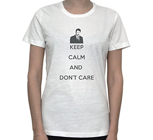 Ron Swanson Keep Calm And Don't Care Women's T-Shirt Blanc