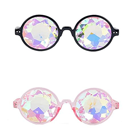FLORATA 2 Pack Kaleidoscope Firework Diffraction Prism Glasses Rainbow Prism