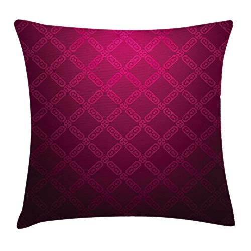 Hats New Magenta Decor Throw Pillow Cushion Cover by, Victorian Damask Motif with Diamond Shaped Square Lines Middle Age Inspired Art, Decorative Square Accent Pillow Case, 18 X 18 Inches, Rosewood - Diamond Knit Hat