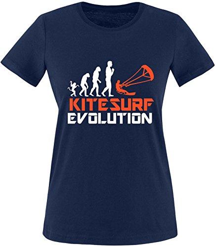 EZYshirt® Kitesurf Evolution Damen Rundhals T-Shirt Navy/Weiss/Orange