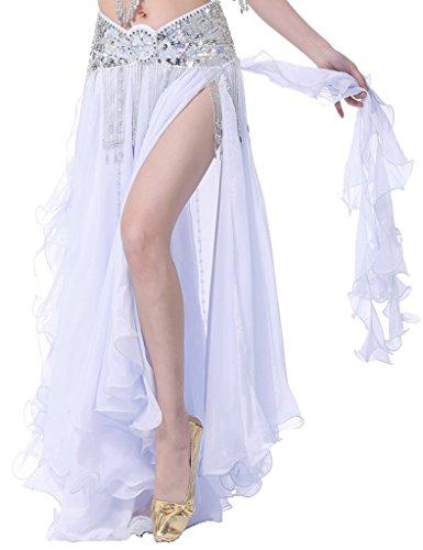 tammes-Bauchtanz Rock Chiffon Rock Swing Kostüme Only skirt Weiß (Bauchtanz Kostüme Ägyptischen Stil)