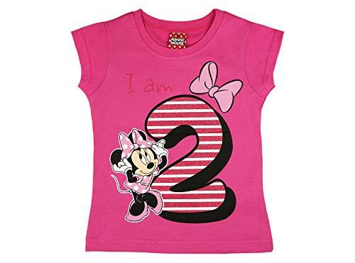 Mädchen Baby Kinder zweiter Geburtstag Kurzarm T-Shirt 2 Jahr Baumwolle Birthday Outfit GRÖSSE 92 Minnie Mouse Disney Design und Glitzer in Weiss oder Rosa Babyshirt Oberteil Farbe Rosa -