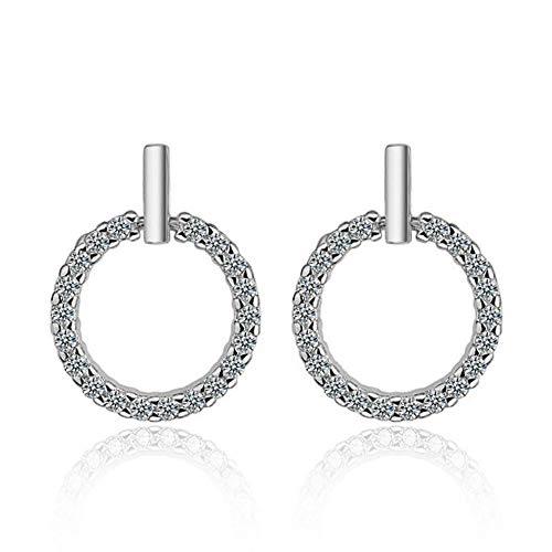 Kaayah - zarte Ohrringe aus 925 Sterling Silber, eleganter hängender Ring mit 20 gefassten Zirkonia, 1,1cm Durchmesser