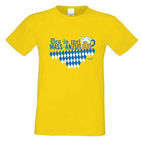 Witziges-Herren-Sprüche-Fun-T-Shirt cooles Volksfest Oktoberfest Party Outfit Motiv Des is mei Mass - Anzug auch in Übergrößen Farbe: gelb Gelb