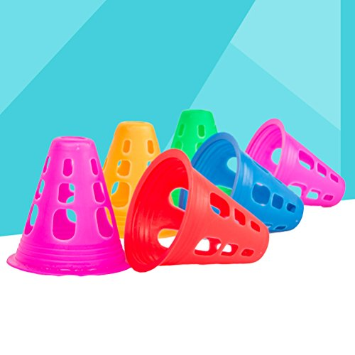 VORCOOL 10  Pcs Plastic Multi-purpose Sports Training Cone Traffic Cone for Outdoor Activities and Indoor Soccer Roller Skating  Random Color