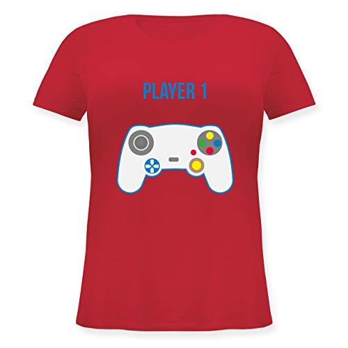 Partner-Look Familie Mama - Player 1 - Lockeres Damen-Shirt in Großen Größen mit Rundhalsausschnitt Rot