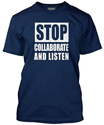 STOP Collaborate and Listen T-Shirt - Various Colours Available - Mens Navy, Medium
