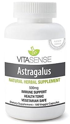 VitaSense 500 mg Astragalus Immune System Support Veg Capsules - Pack of 100 Capsules by VitaSense