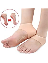 Toku 1 Pair Gel Heel Sleeve Moisturizing Silicone Socks Heel Ankle Pain Relief Cushion