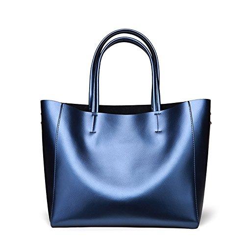 Mefly Moda In Pelle Borsette In Pelle Donna Borsa Tracolla Con Grande Capacità Grigio Argento blue