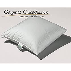 Eiderdaunen 3-Kammer-Kopfkissen mit Satinbiese, deutscher 1a Mako Edelbatist, ÖKO-Tex 100 (80x80)