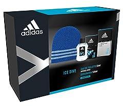 Idea Regalo - Adidas - Confezione Regalo Ice Dive: Profumo Uomo 50 ml, Dopobarba 100 ml e Cappellino Lana Blu