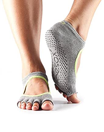 Half-Toesox BELLA in Grey with Lime trim S