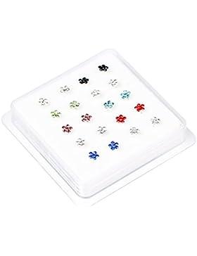 Bodya farbige Edelstahl-Stecker, 4mm, Kristallblumen Piercing Schmuck Nasenstecker, hypoallergen, 20 Stück