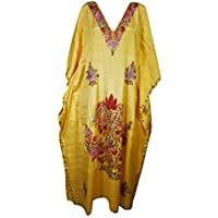 Women Kimono Kaftan Yellow Embroidered Maxi Caftan Dress One Size