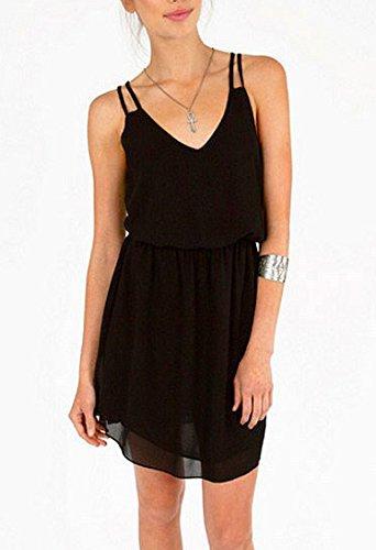 Damen Sommer Trägerkleid chiffonKleid Minikleid kurz Ärmellos Trägertop Taille trägerlos Tiefem V-Ausschnitt elastische Taillen kleider Schwarz