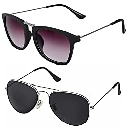 Silver Kartz Luxury Aviator and Wayfarer Rectangular Unisex Sunglasses Combo (Silver Kartz|.05|Violet,Black)